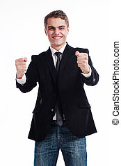 Win and success concept in business - Portrait of cheerful...