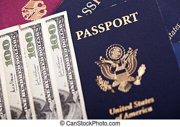 Cash & Passports - A large amount of 100 US dollar money...