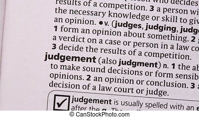 Judgement highlighted in green in the dictionary