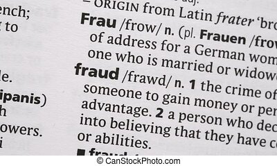 Fraud highlighted in pink in the dictionary