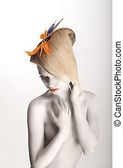 Fairy Tale Artistic Dreamy Woman with Strelitzia Flower...