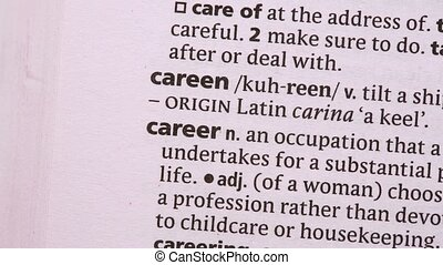 Career circled with green highlighter in the dictionary
