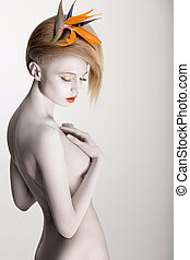 White Bodyart. Stylish Futuristic Woman with Headwear -...