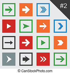 Flat arrow icons. - Vector illustration of plain square...