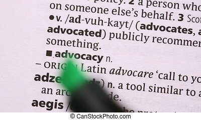 Advocacy highlighted in green in the dictionary