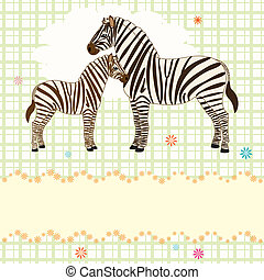 Nice vector card with two zebras