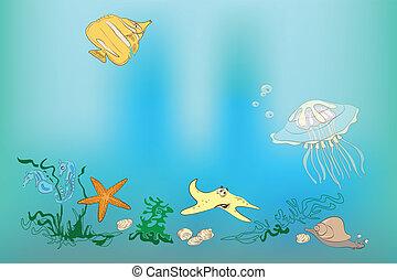 Underwater world: fish, shell, sea horses, starfish, snail,...