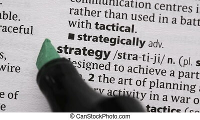 Strategy highlighted in green in the dictionary