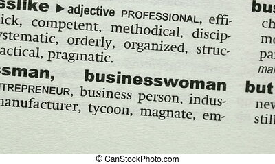 Businesswoman highlighted in blue in the dictionary