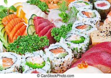 Group of luxury foods, sushi caviar, salmon close up