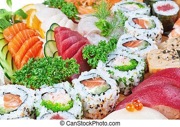 Grupo, luxo, alimentos, sushi, caviar, salmão, fim,...