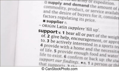 Support highlighted in green in the dictionary