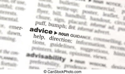 Advice highlighted in green in the dictionary