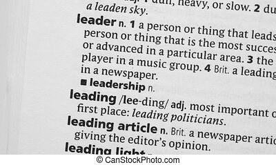 Leadership circled with highlighter in the dictionary