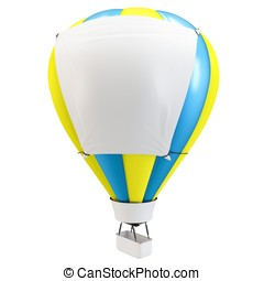 3d Hot air balloon with blank banner isolated on white...