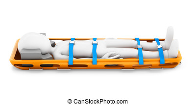 3d man strapped in a stretcher on white background