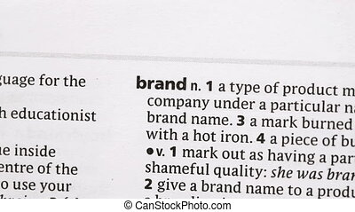 Brand highlighted in green in the dictionary