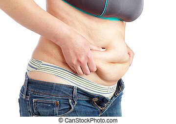 Fat woman measuring belly fat layer. On a white background.
