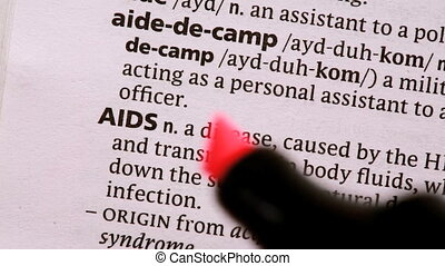 AIDS highlighted in red in the dictionary
