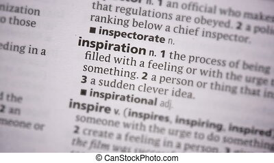 Inspiration highlighted in green in the dictionary