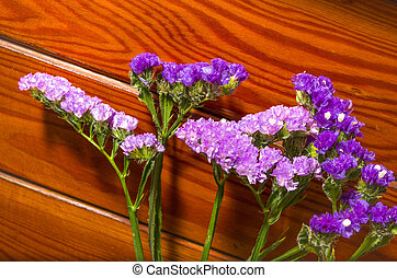 Purple flowers on a decorative wood background
