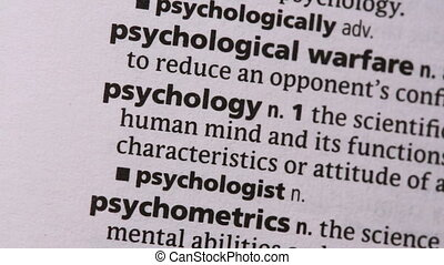 Psychology highlighted in green in the dictionary