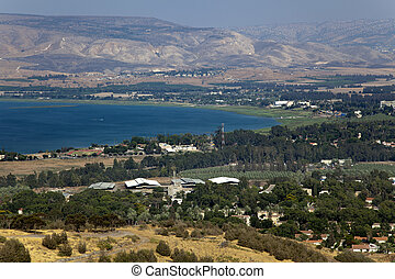 A view on the southern edge of Sea of Galilee aka Lake of...