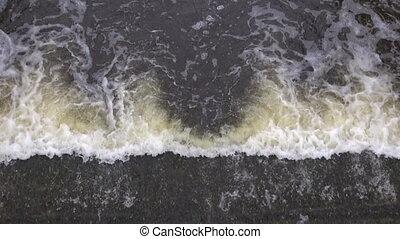 spring water splash in river dam