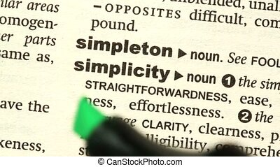 Simplicity highlighted in green in the dictionary
