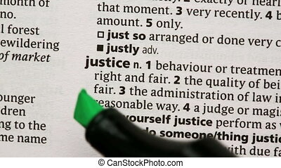 Justice highlighted in green in the dictionary