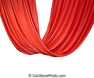 red curtain isolated on white, theater