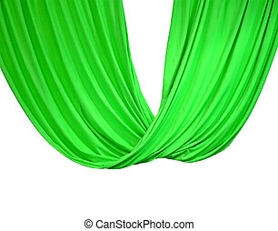 green curtain isolated on white, theater