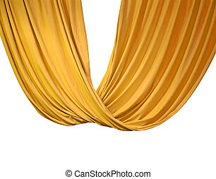 golden curtain isolated on white, theater