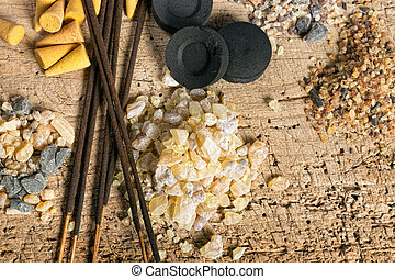 Incense in different forms - Charcoal and incense in...