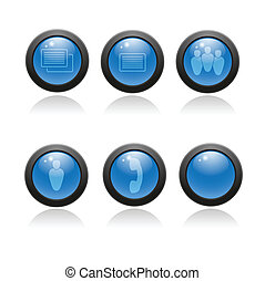 Glossy icon set for web applications.