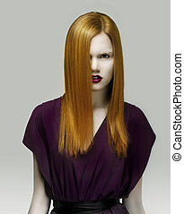 Stare. Exquisite Golden Hair Stylish Woman in Violet Dress....