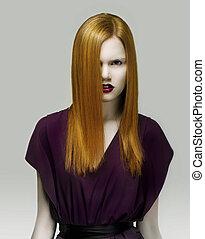 olhar fixo, primoroso, dourado, cabelo, elegante, mulher,...