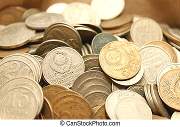 old coins from different periods - Coins background, old...