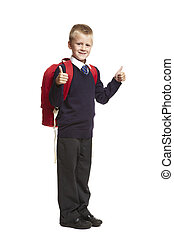 School boy with backpack - 8 year old school boy with thumbs...