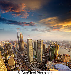 Skyline at sunset at shanghai