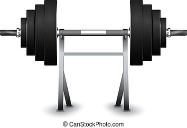 weights on support over white background, abstract vector...