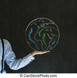 Man with world in the palm of your hand - Man teacher,...