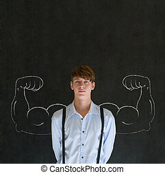 Man with chalk healthy strong arm muscles for success - Man...