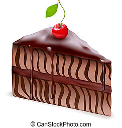 Chocolate cake with cherry - Vector Chocolate cake with...