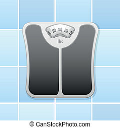 bathroom scale - detailed illustration of an analog bathroom...