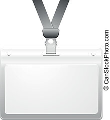 name tag - detailed illustration of a blank plastic name tag