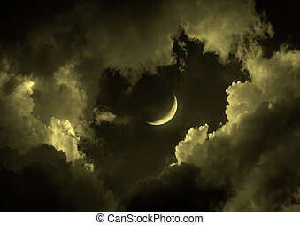 """half moon in the night sky""""Elements of this image furnished..."""