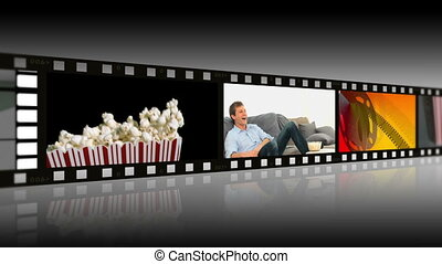 Montage of people enjoying movies