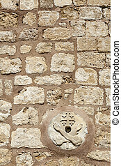 Franciscan Church Wall - Close-up of a Franciscan churchs...