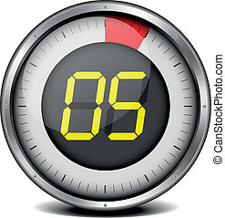 timer digital 05 - illustration of a metal framed timer with...